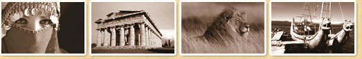 4 sepia images of: (1) Turkish woman in scarf; (2) The Parthenon in Athens, Greece; (3) A Lion in blowing tall grass; (4) two serpent-headed boats at a dock